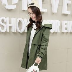 Pipafellow - Embroidered Applique Hooded Zip Coat
