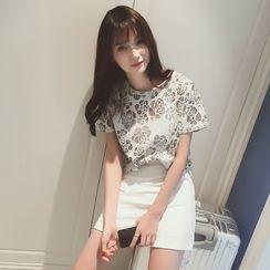 微米家 - 网纱花形短袖T恤