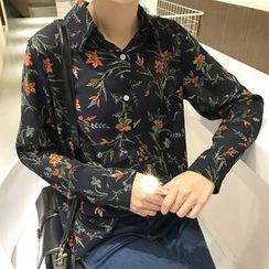 Dute - Floral Print Long-Sleeve Chiffon Blouse
