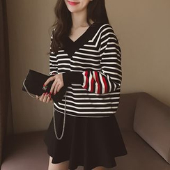 Cocofield - Striped V-Neck Sweater