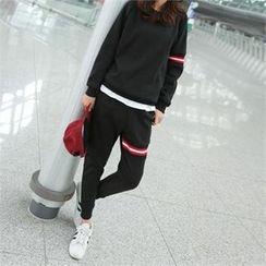 PINKSISLY - Set: Contrast-Trim Brushed Fleece Lined Sweatshirt + Sweatpants