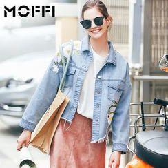 MOFFI - Flower Embroidered Asymmetric Fray Hem Denim Jacket