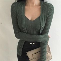 LIPHOP - Set: V-Neck Sleeveless Ribbed Knit Top + V-Neck Ribbed Cardigan
