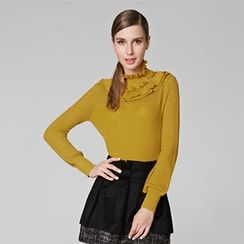 O.SA - Ruffled Pointelle-Knit Top Top