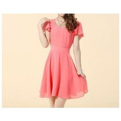 Strawberry Flower - Frill Sleeve Chiffon Dress