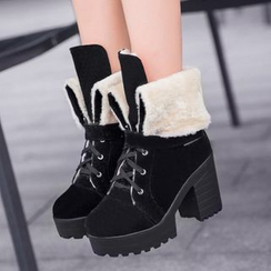 Sidewalk - Block Heel Lace Up Short Boots