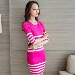 Yumerakka - Set: Slim-Fit Striped Knit Top + Tank Dress