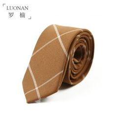 Luonan - 套装: 格子修身领带 + 袋巾