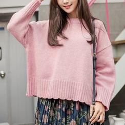 WITH IPUN - Drop-Shoulder Scallop-Hem Knit Top