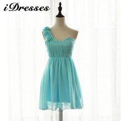 idresses - One-shoulder Rosette Bridesmaid Dress