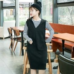 Anlay - Set: Loose-Fit Hooded Knit Tank Dress + Striped Long-Sleeve T-Shirt