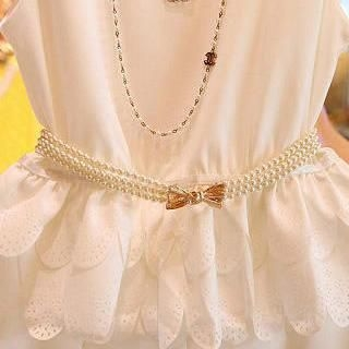 Cuteberry - Bow-Accent Beaded Belt