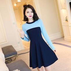 Emeline - Color Block Long-Sleeve A-Line Dress
