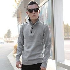 maxhomme - Stand Collar Half-Placket Sweater