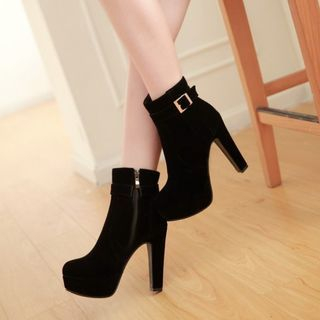 Shoes Galore - Platform Buckled Zip-up Heeled Ankle Boots
