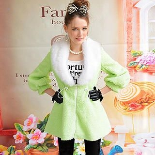 Dabuwawa - Furry-Collar Fleece Drawstring Coat