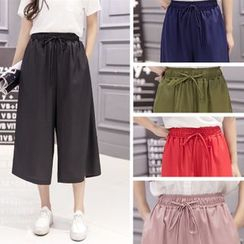 Angel Shine - Cropped Chiffon Wide Leg Pants