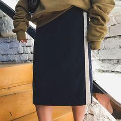 Jinggu Studio - Contrast Trim Midi Skirt