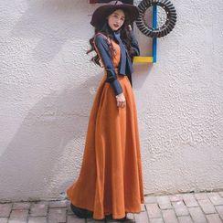 Romantica - Set: Long-Sleeve Bow-Accent Blouse + Sleeveless Maxi Dress