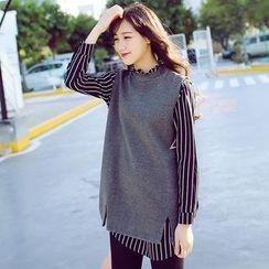 TANGYIZI - Inset Stripe Chiffon Blouse Long Top