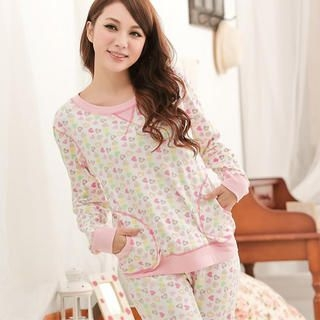 Angel Romance - Pajama Set: Heart-Print Top + Pants