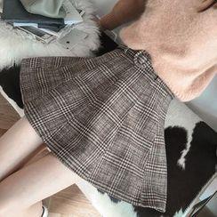 Munai - Plaid A-Line Skirt