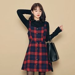 HOTPING - Button-Detail Checked Suspender Dress
