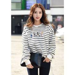 DEEPNY - Printed Striped Sweatshirt
