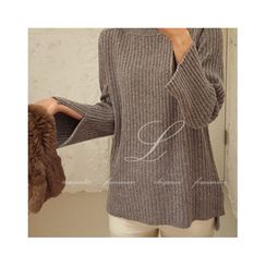 LEELIN - Boat-Neck Wool Blend Knit Top