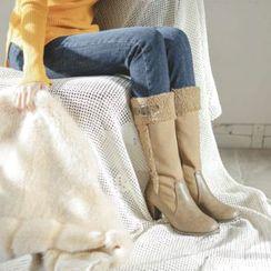 JUSTONE - Chunky-Heel Fleece-Trim Tall Boots
