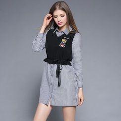 妮佳 - 套装: 细条纹衬衫裙 + 马甲
