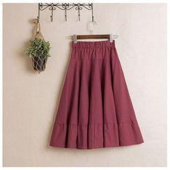 Clover Dream - Elastic Waist Midi Skirt