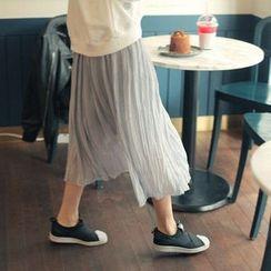 Cherryville - Pleated Chiffon Midi Skirt