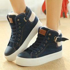 Renben - Fleece-lined Buckled High-top Sneakers