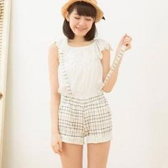 Tokyo Fashion - Lace-Trim Patterned Suspenders Shorts
