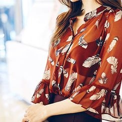 chuu - Ruffle-Sleeve Patterned Chiffon Blouse