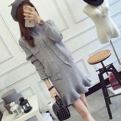 Maple Fair - Set: Cardigan + Knit Ruffled Dress