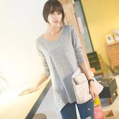 Tokyo Fashion - Long-Sleeve Eyelet-Lace Panel Top