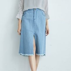 BAIMOMO - Fray-Hem Slit-Front Denim Skirt