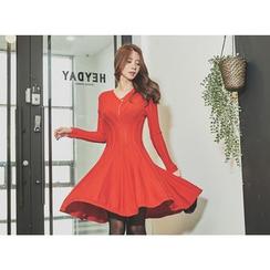 UUZONE - V-Neck Seam A-Line Dress
