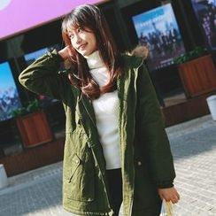 sansweet - Furry Hooded Long Parka