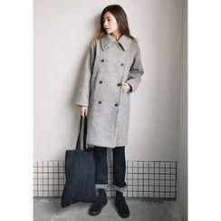 GOROKE - Double-Breasted Wool Blend Coat