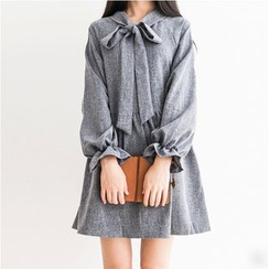HotBlock - Tie-Neck Long-Sleeve Dress