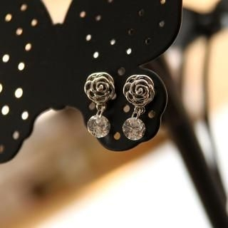 Petit et Belle - Rhinestone Filigree Rose Drop Earrings