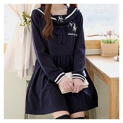 Sechuna - Sailor-Collar Embroidered Mini Empire Dress