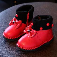 绿豆蛙童鞋 - 儿童蝴蝶结短靴