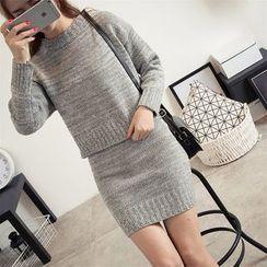 Bloombloom - Set: Plain Knit Pullover + Knit Skirt