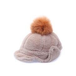 Ohkkage - Pom-Pom Faux-Fur Military Cap