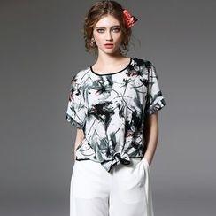 Y:Q - Print Tie Hem Short-Sleeve T-Shirt