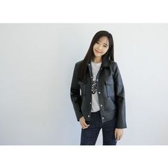 Envy Look - Snap-Button Faux-Leather Jacket